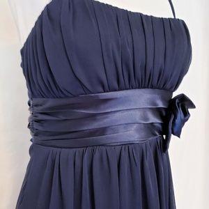 Midnight Blue Sheer Formal Dress